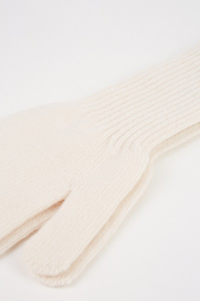 Uzwei Long wool cashmere gloves White