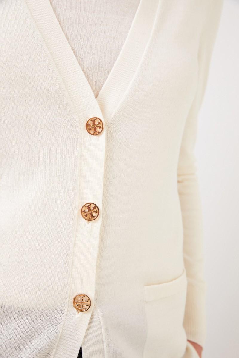 Tory Burch Woll-Cardigan 'Madeline' mit Logo-Knöpfen Crème