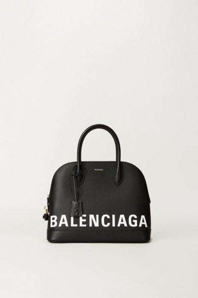 Handtasche 'Ligne Ville' mit Logo-Schriftzug Schwarz
