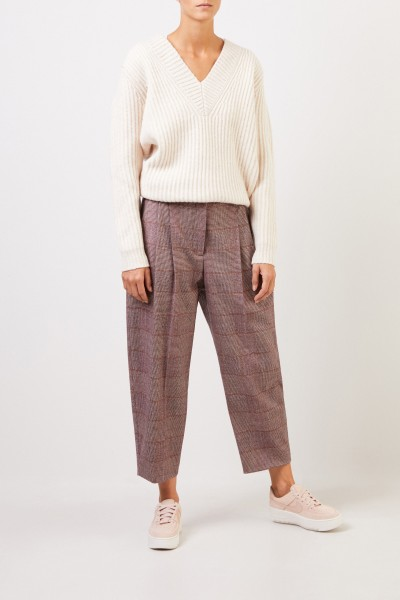 Stella McCartney Wool pleated trousers with glencheck Bordeaux