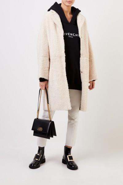 Yves Salomon Reversible lambskin coat Cream