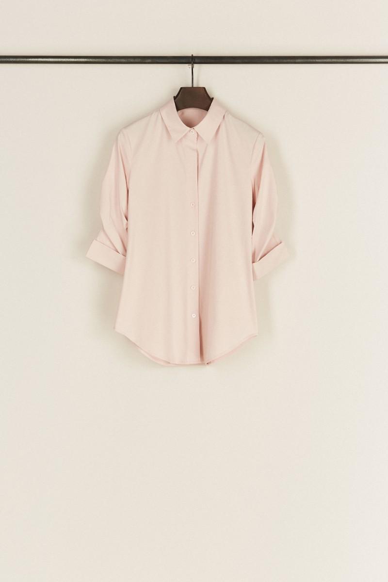 Bluse mit Raffungen Rosé