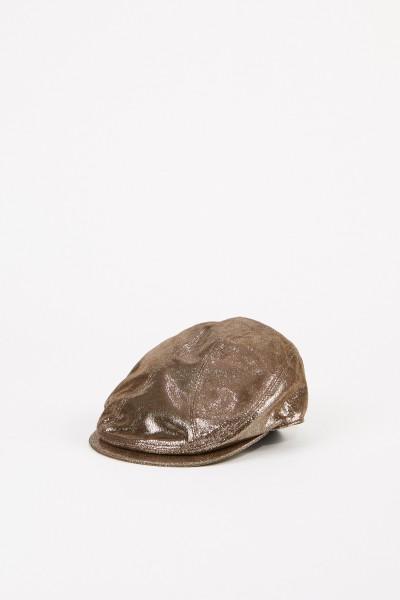 Leder-Mütze Metallic