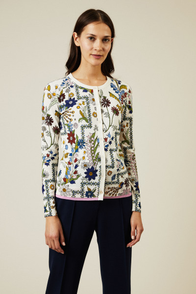 Baumwoll-Strickjacke mit floralem Print Multi