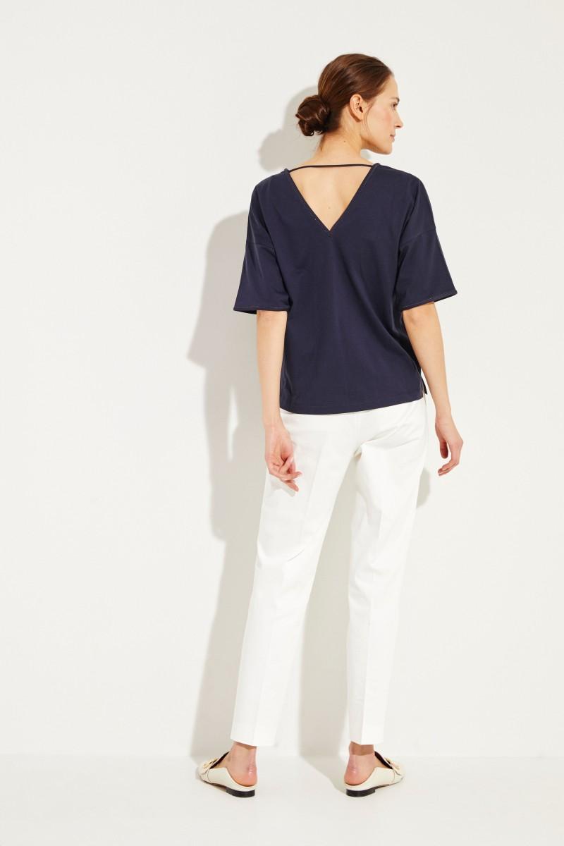 Baumwoll T-Shirt mit Perlen-Details Marineblau