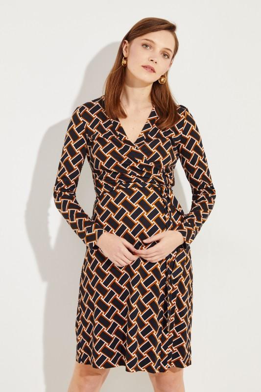 bd2ed9a3f43 Silk wrap dress  New Jeanne  with print Black Brown