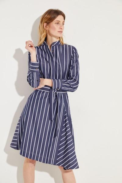 Gestreiftes Baumwoll-Kleid mit Gürtel Blau/Weiß