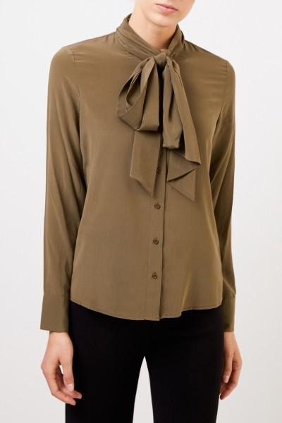 Steffen Schraut Silk blouse with removable binding detail Khaki