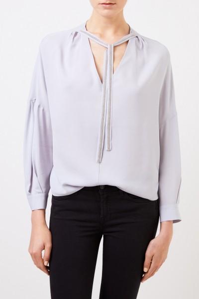 Fabiana Filippi Seiden-Bluse mit Perlenverzierung Hellblau