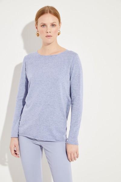 Baumwoll-Leinen-Pullover Blau
