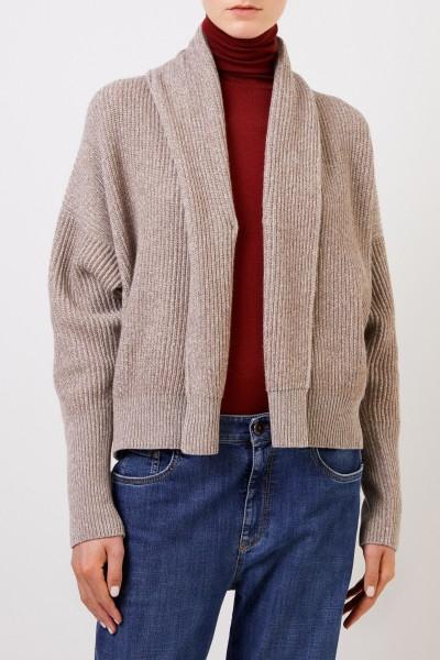 Brunello Cucinelli Woll-Cashmere-Cardigan mit Lurexdetails Beige