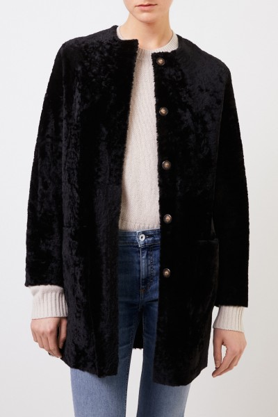 Benedetta Novi Reversible lambskin coat 'Pippa Astracan' Black