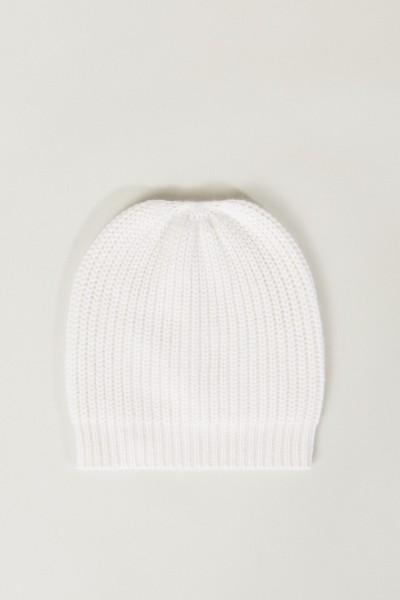 Cashmere-Mütze Crémeweiß