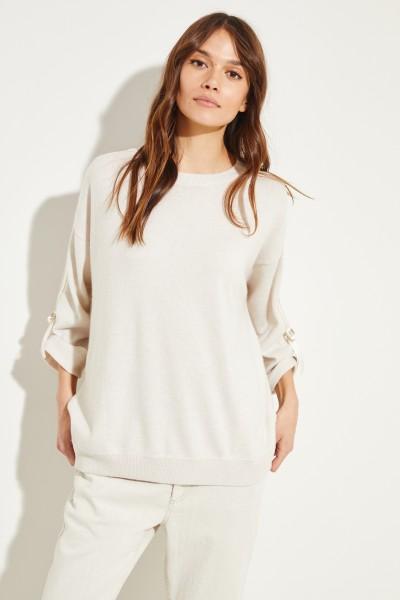 Cashmere-Pullover mit Bindedetails Crème