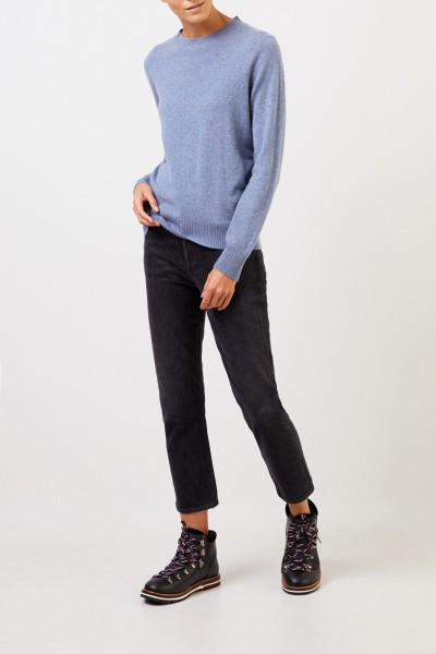Uzwei Cashmere sweater with rib knit collar Blue