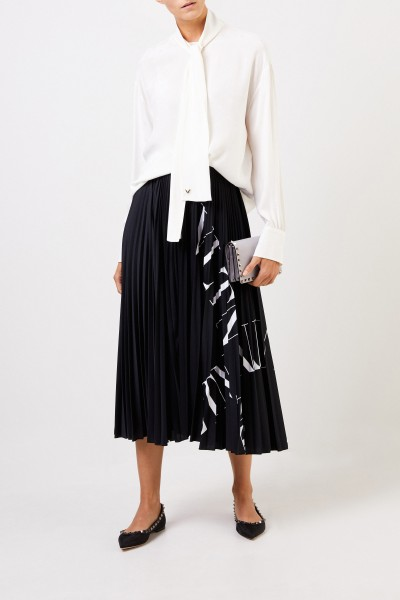 Valentino Midi pleated skirt with logo black/white