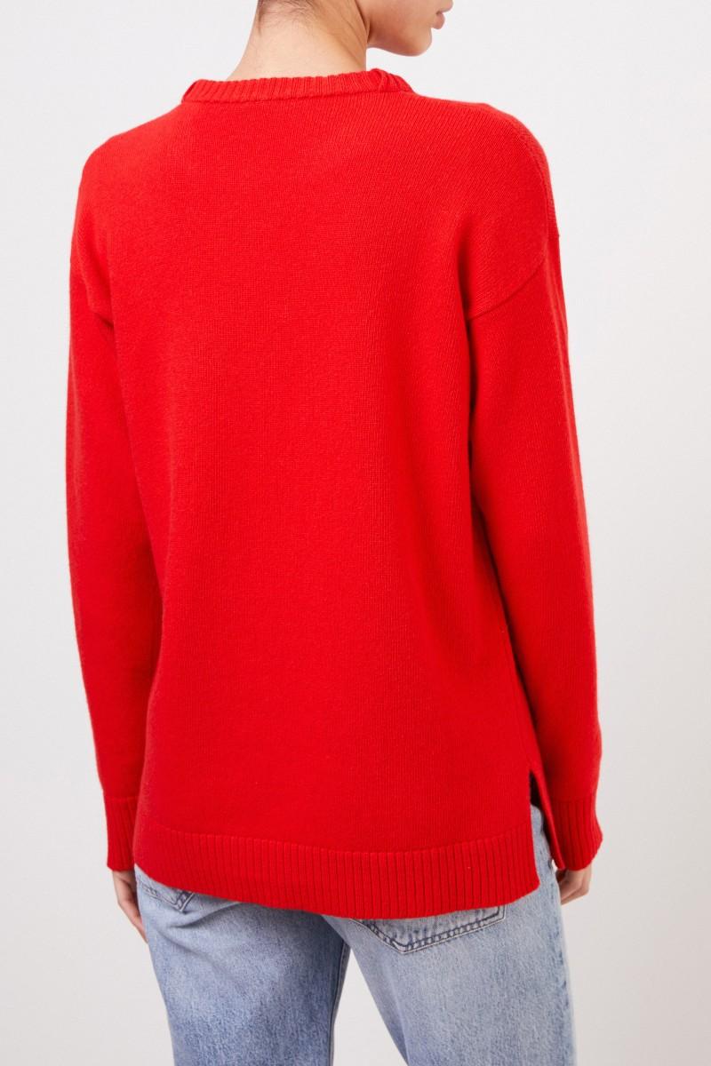 Loewe Woll-Pullover mit Logo-Stickerei Rot