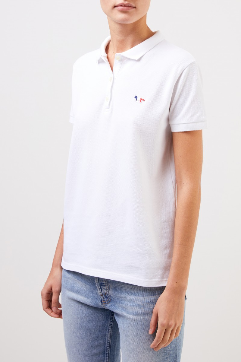 Maison Kitsuné Polo-Shirt 'Tricolor Fox Patch' Weiß