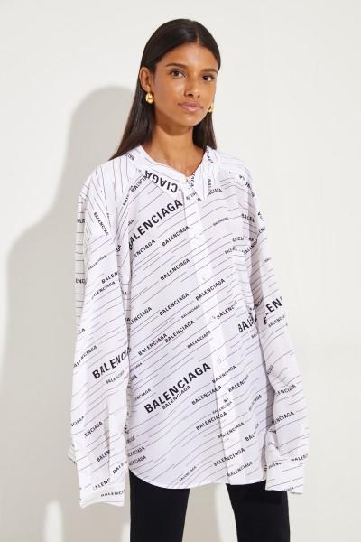 Seidenbluse mit Allover-Print Schwarz/Weiß