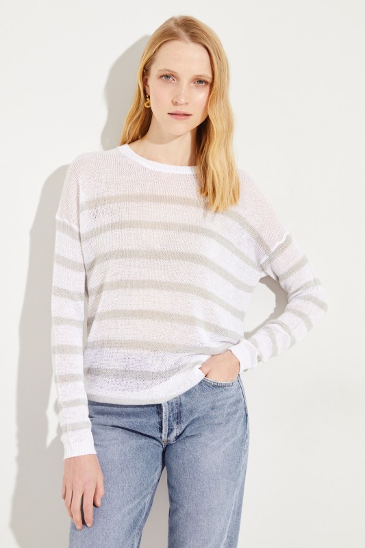 Gestreifter Leinen-Pullover 'Samantha' Weiß/Grau