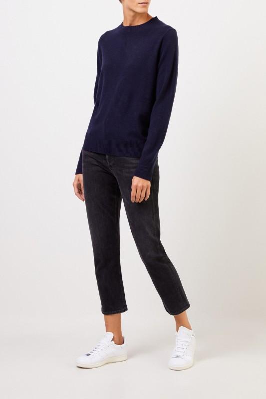 Uzwei Cashmere-Pullover mit Rippstrickkragen Marineblau