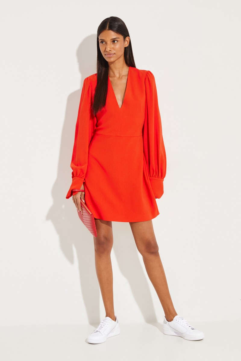 Stella McCartney Kurzes Kleid mit V-Neck Rot