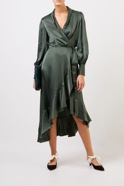 Zimmermann Silk wrap dress with flounces Green