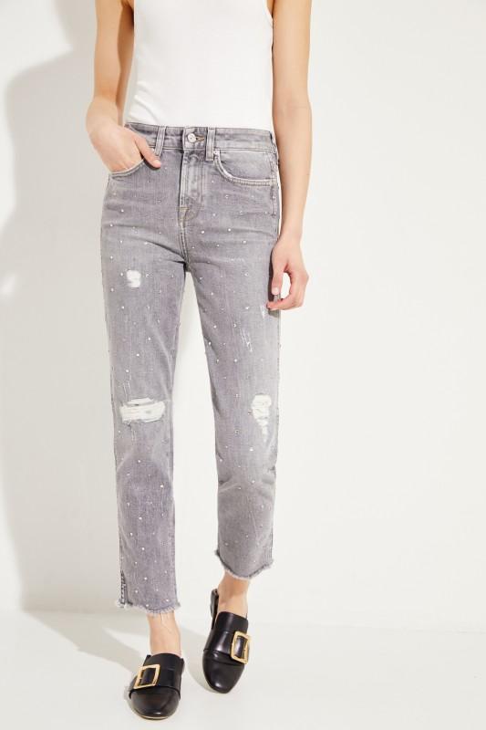 Skinny-Jeans 'Erin' mit Glitzerbesatz Grau
