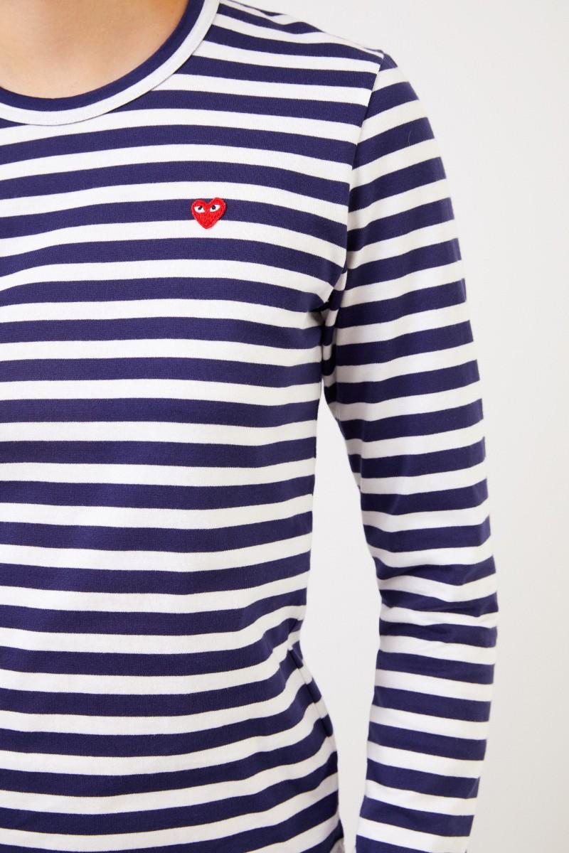 Comme des Garcons Play Gestreiftes Longsleeve mit Herz-Logo Navy/Weiß