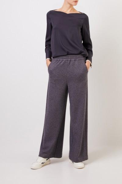 Colombo Cashmere-Seiden-Hose mit weitem Bein Anthrazit