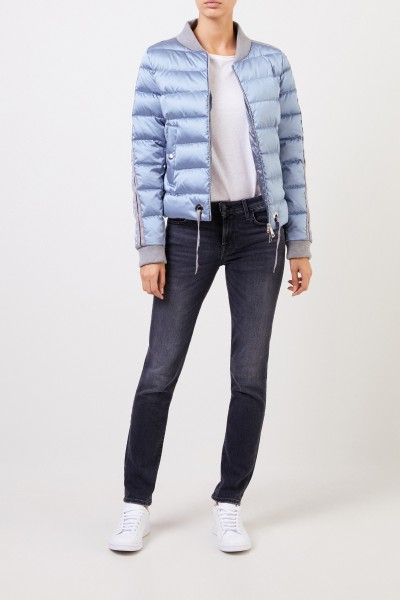 Down jacket with college collar Light Blue