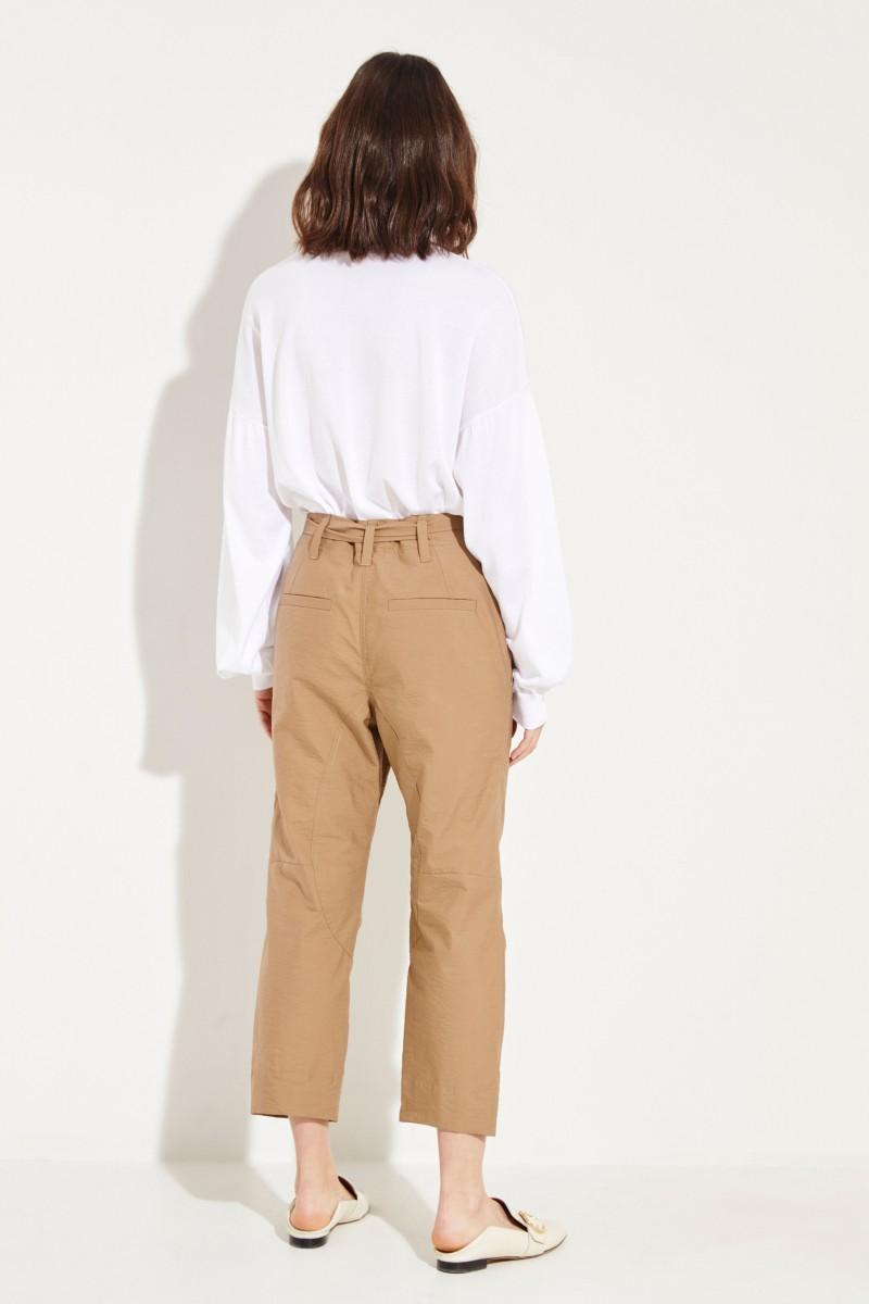 Baumwoll-Hose mit Gürtel Beige