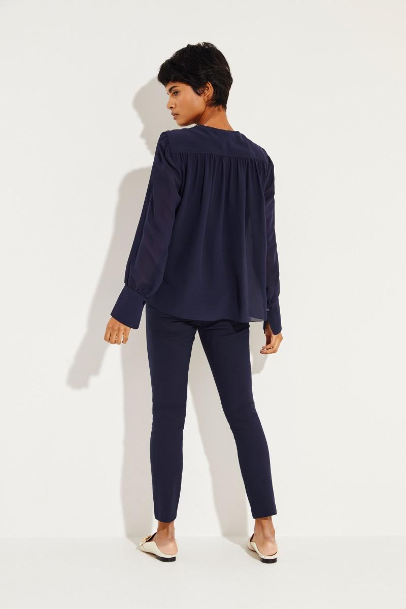 Seiden-Bluse mit Lace-Details Ink Navy