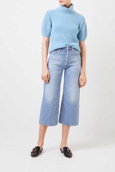 Iris von Arnim Short sleeved cashmere sweater 'Fenja' Light Blue