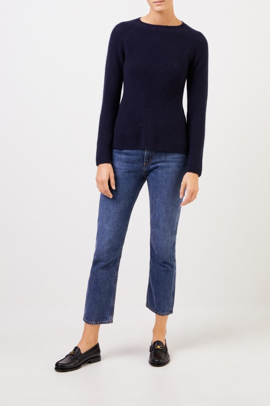 Uzwei Cashmere-Pullover mit Strickdetail Marineblau