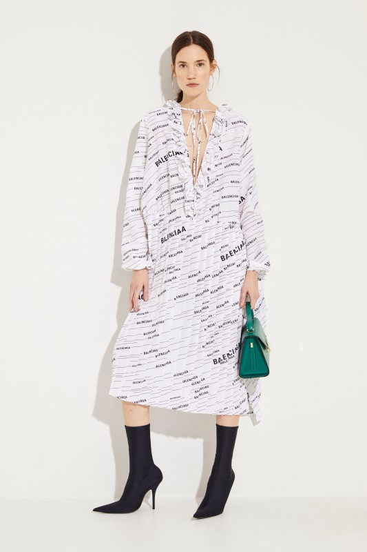 Balenciaga Seiden-Kleid mit Plissee-Details Weiß/Schwarz