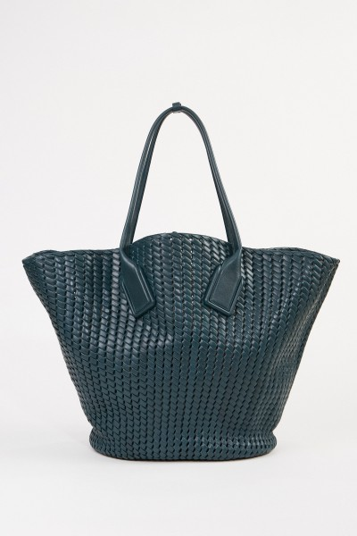 Leather shopper 'Basket Tote' made of Intreccio net Petrol
