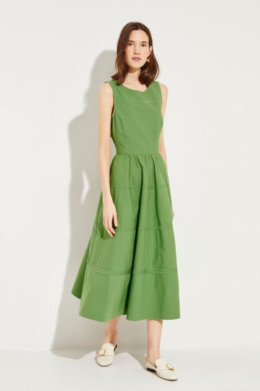 Baumwoll-Seiden-Kleid Grün