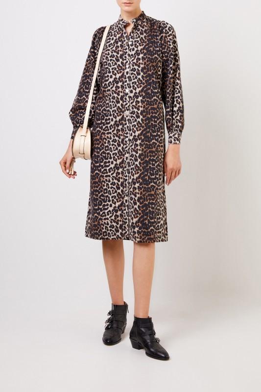 Kleid mit Leo-Print Multi