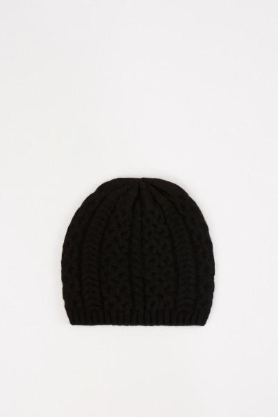 UZWEI Cashmere-Mütze mit Zopfmuster Schwarz