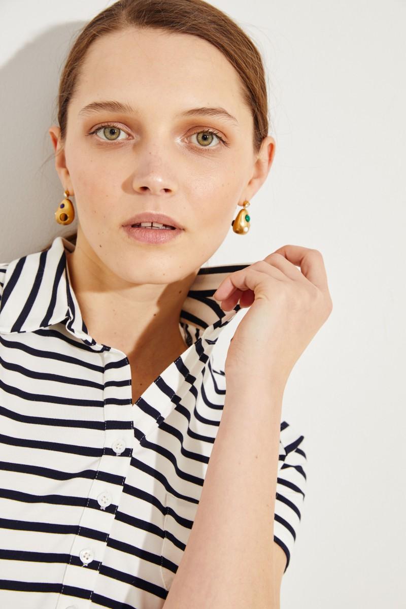 Gestreiftes Polo-Shirt Marineblau/Weiß