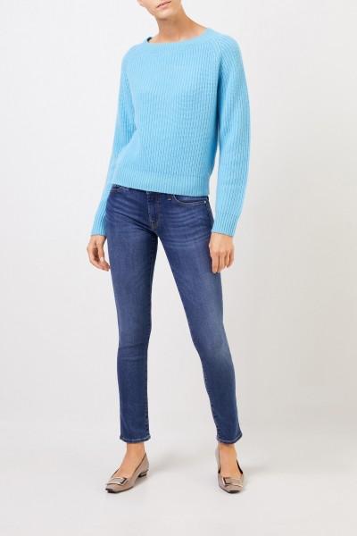 Uzwei Rippstrick-Cashmere-Pullover Hellblau