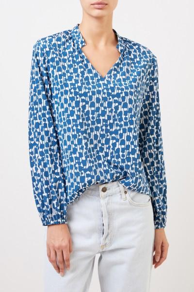 Steffen Schraut Silk blouse with pattern mix Blue/White
