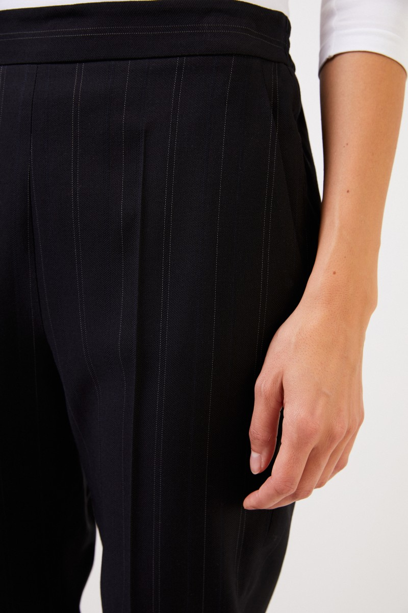 Stella McCartney Woll-Hose mit Streifendetails Schwarz