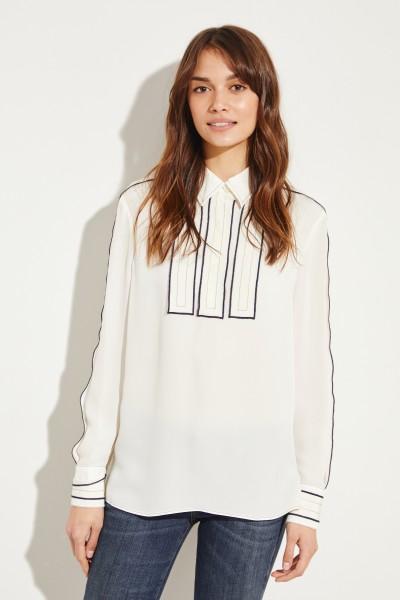 Silk blouse with stripe details Cream/Blue