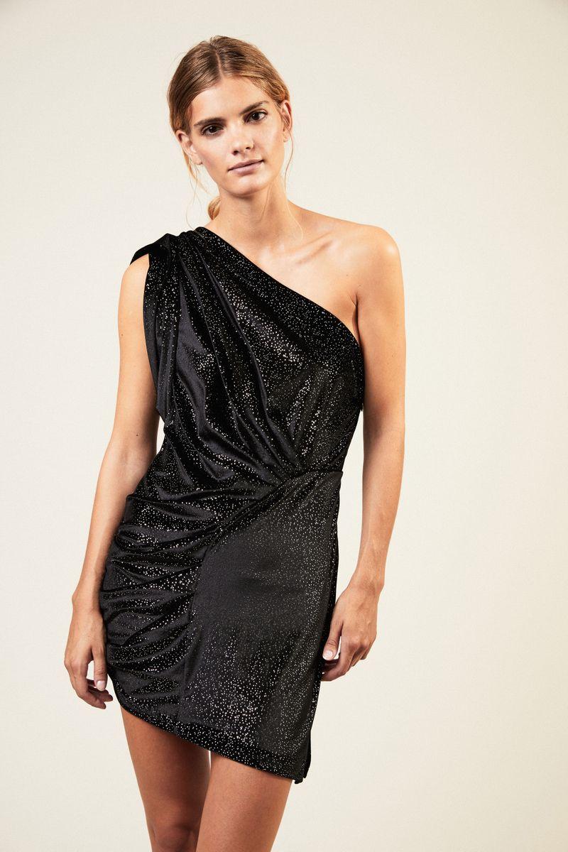 Kurzes One-Shoulder Kleid Schwarz