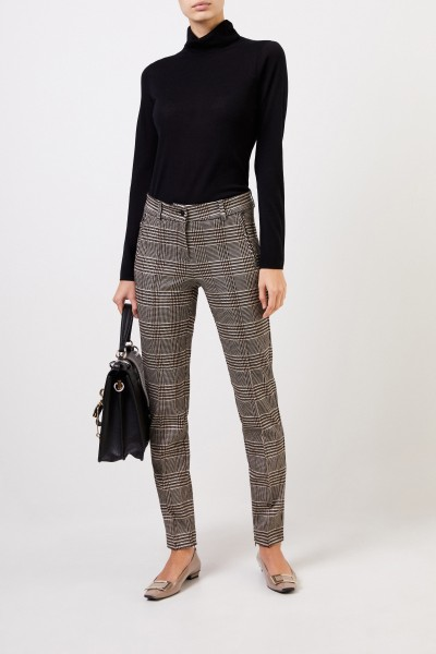 Cambio Trousers with dog-tooth pattern black/beige
