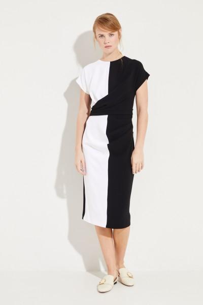 Midi-Kleid mit Raffung Schwarz/Weiß