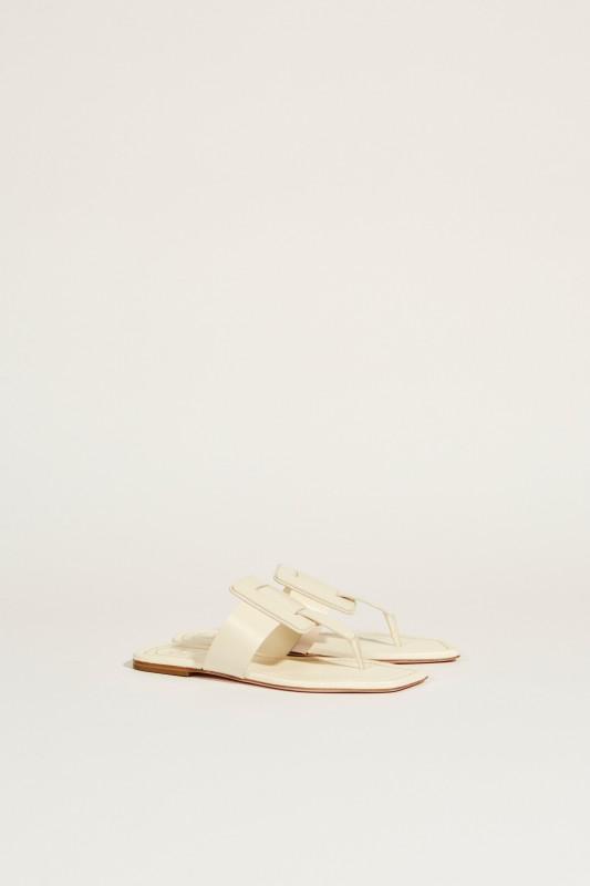Leder-Sandale 'Viv Sellier Thong' Weiß