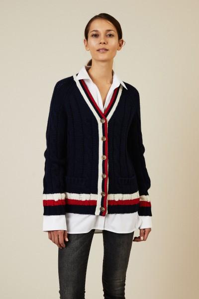 Woll-Cashmere-Cardigan Blau/Weiß/Rot
